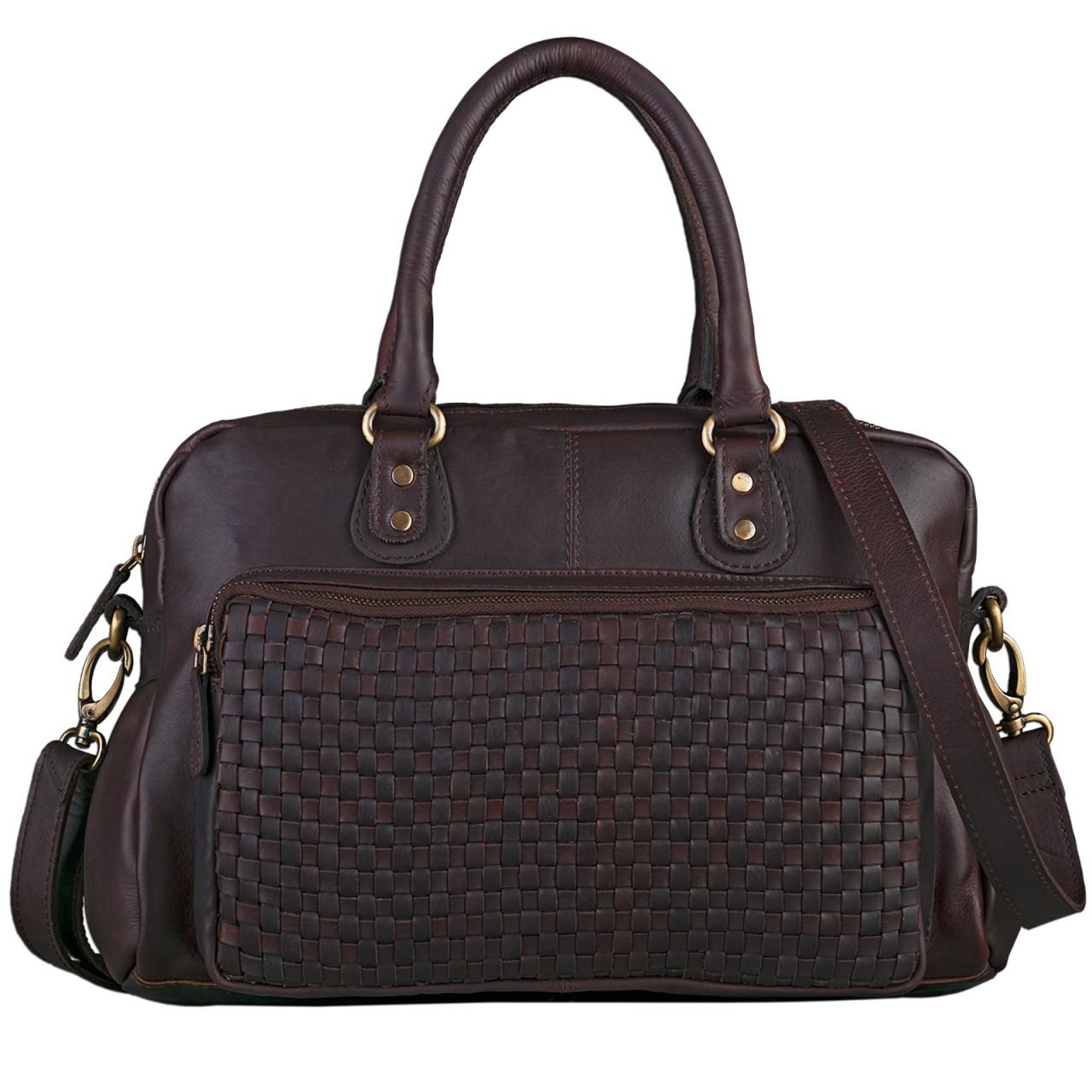 STILORD Elegante Handtasche Damen Umhängetasche geflochtene Vintage Damentasche 12 Zoll weiches Echt Leder cognac dunkelbraun - Bild 2