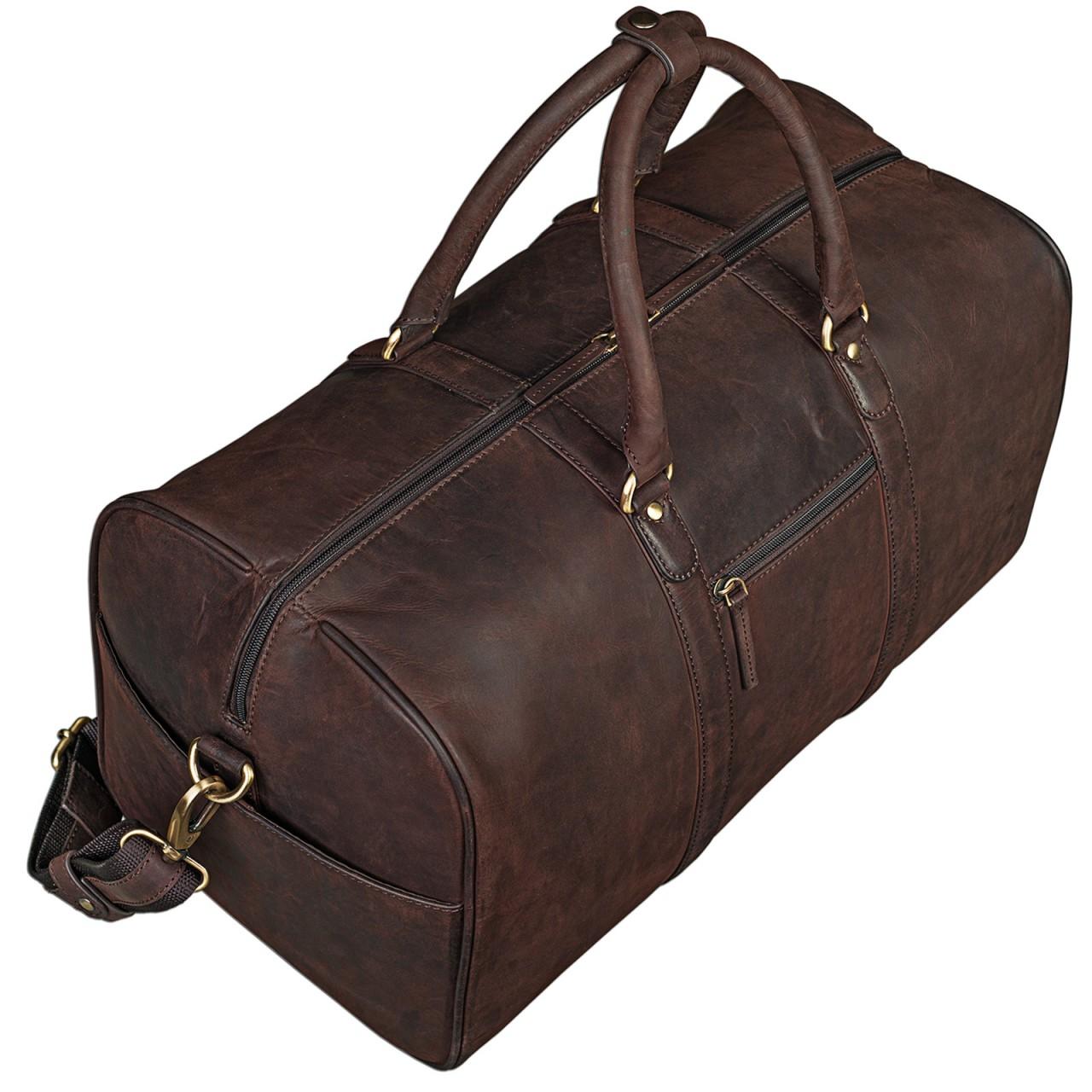 STILORD Elegante Vintage Reisetasche Umhängetasche Weekend Bag Handgepäck in Kabinengröße aus echtem Leder dunkelbraun - Bild 1