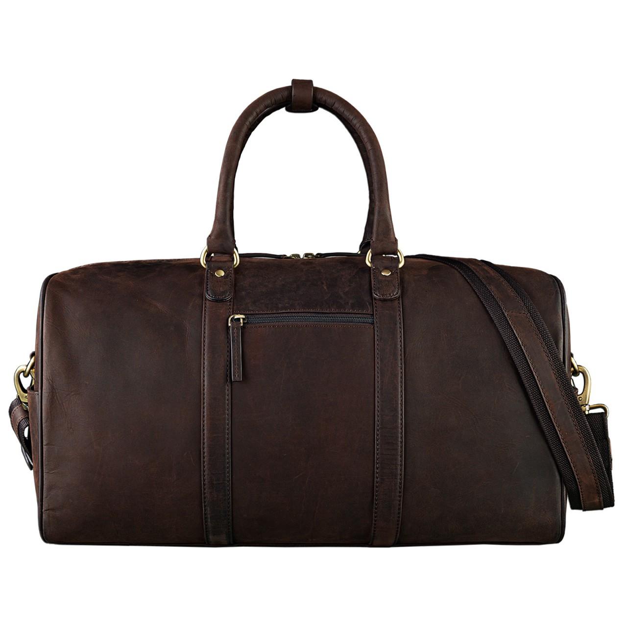 STILORD Elegante Vintage Reisetasche Umhängetasche Weekend Bag Handgepäck in Kabinengröße aus echtem Leder dunkelbraun - Bild 3