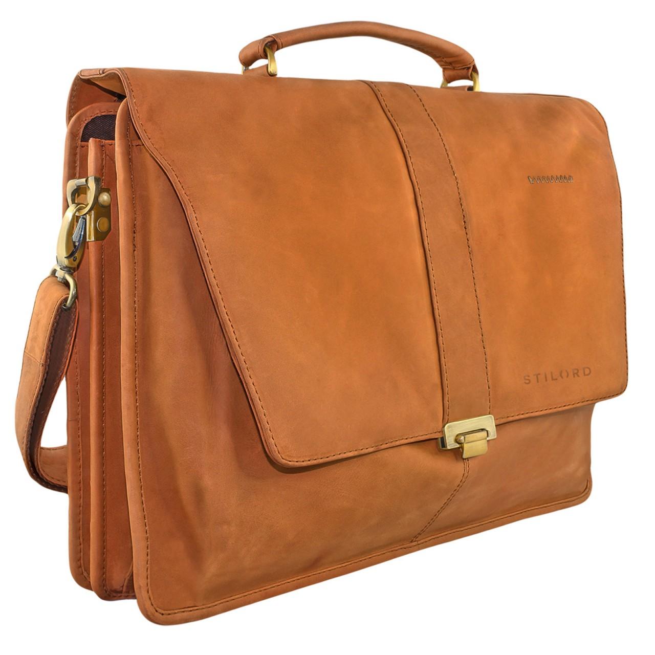 STILORD Vintage Umhängetasche groß Aktentasche Schultertasche 15,6 Zoll Laptoptasche - ideal für Büro Uni Arbeit Leder braun - Bild 1
