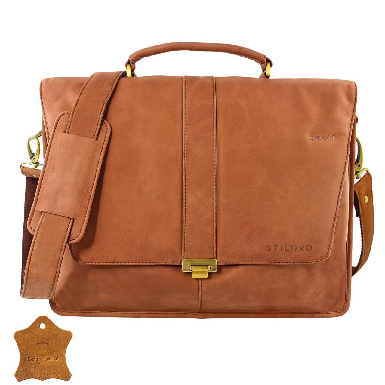 STILORD Vintage Umhängetasche groß Aktentasche Schultertasche 15,6 Zoll Laptoptasche - ideal für Büro Uni Arbeit Leder braun - Bild 2