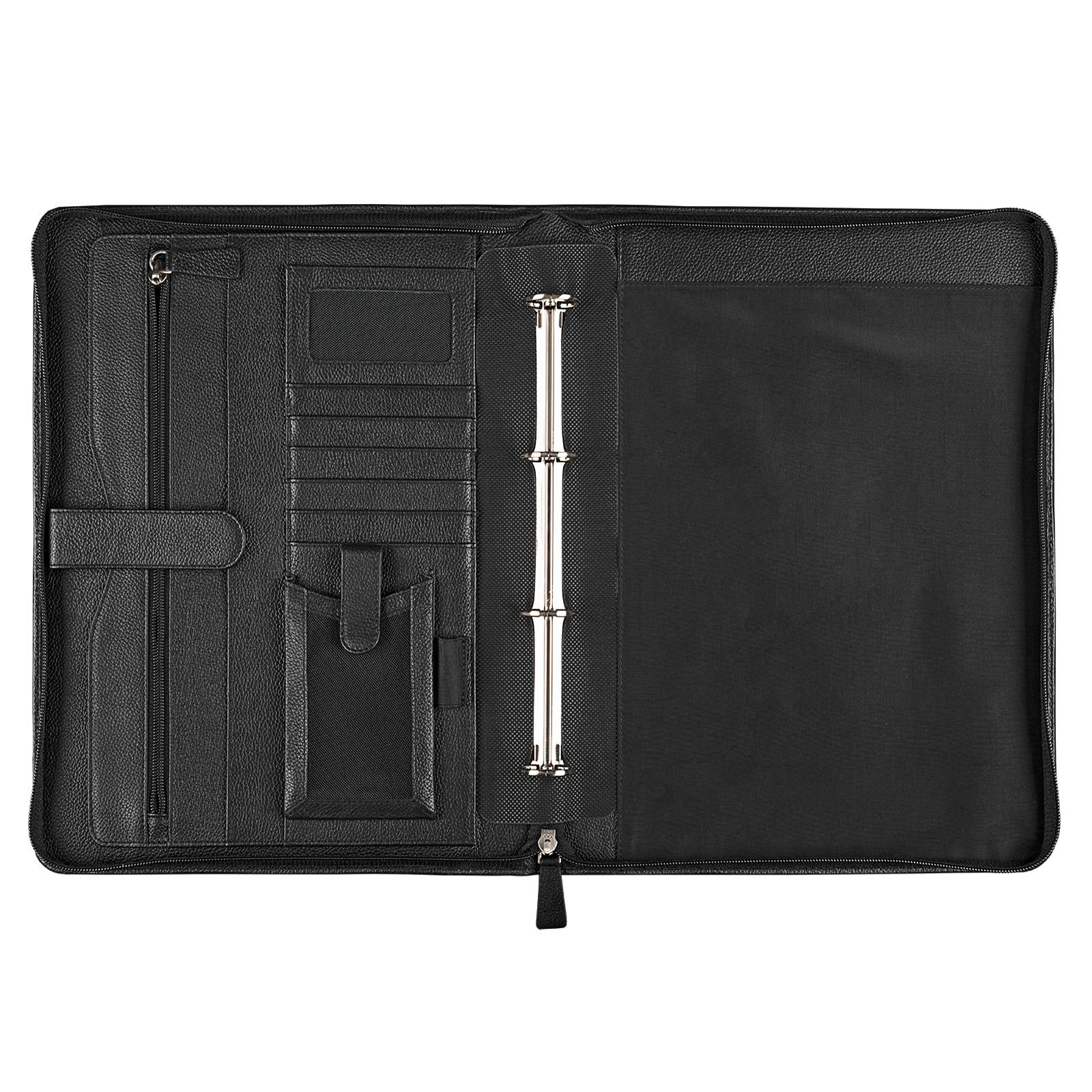 Dokumentenmappe A4 Leder schwarz mit Ringmechanik