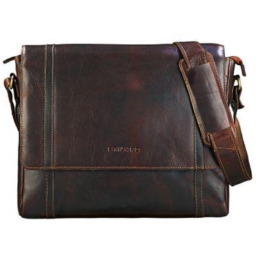 "STILORD ""Raffael"" Vintage Messenger Bag Büchertasche Umhängetasche Schultertasche 13,3 Zoll Laptoptasche Leder cognac dunkelbraun"