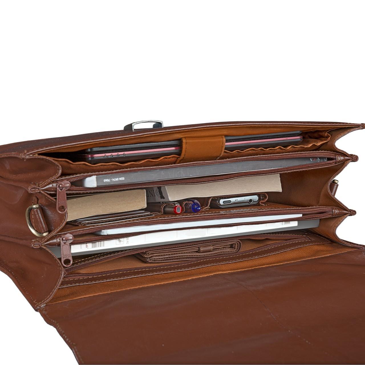 """STILORD """"Philipp"""" Vintage Leder Aktentasche Braun Herren mit 15,6 Zoll Laptopfach Dreifachteilung Dokumententasche Groß Antik Leder - Bild 20"""