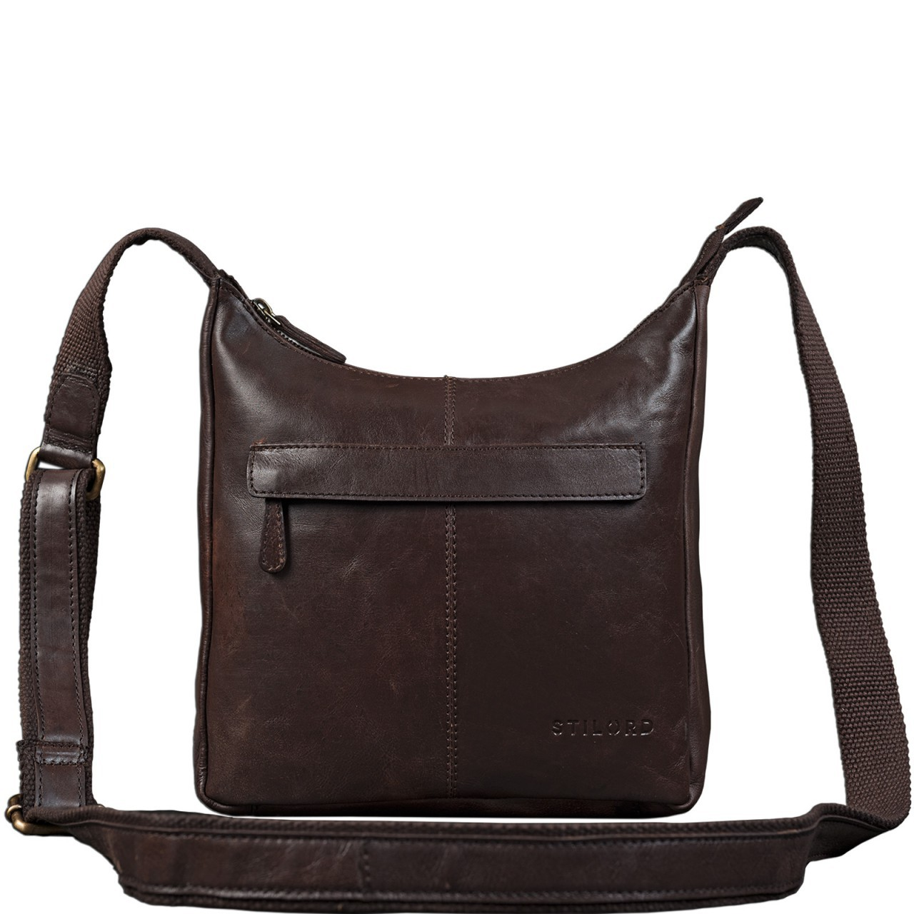 STILORD dunkelbraune Vintage Umhängetasche für Damen / Handtasche / Ledertasche aus weichem Büffel Leder braun - Bild 2