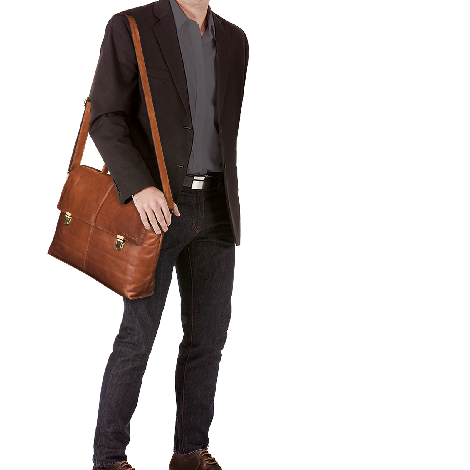 STILORD Vintage Leder Aktentasche im Retro Stil 15,6 Zoll Laptoptasche Umhängetasche Büro Uni aus echtem Büffel Leder cognac braun - Bild 2