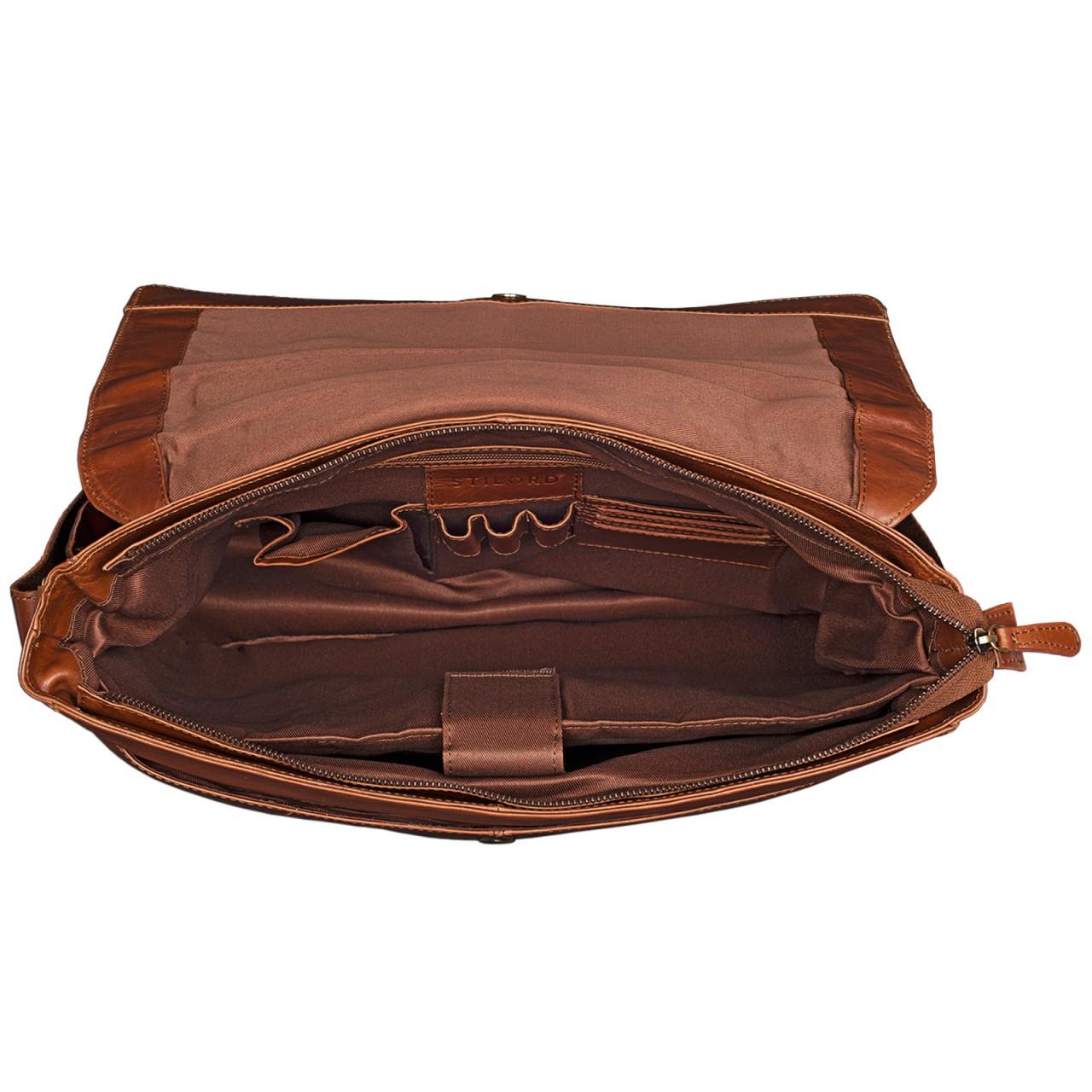 STILORD Leder Bürotasche mit 15,6 Zoll Laptopfach Dokumententasche Vintage Umhängetasche DIN A4 Akten Business Cognac Braun Glänzend - Bild 6