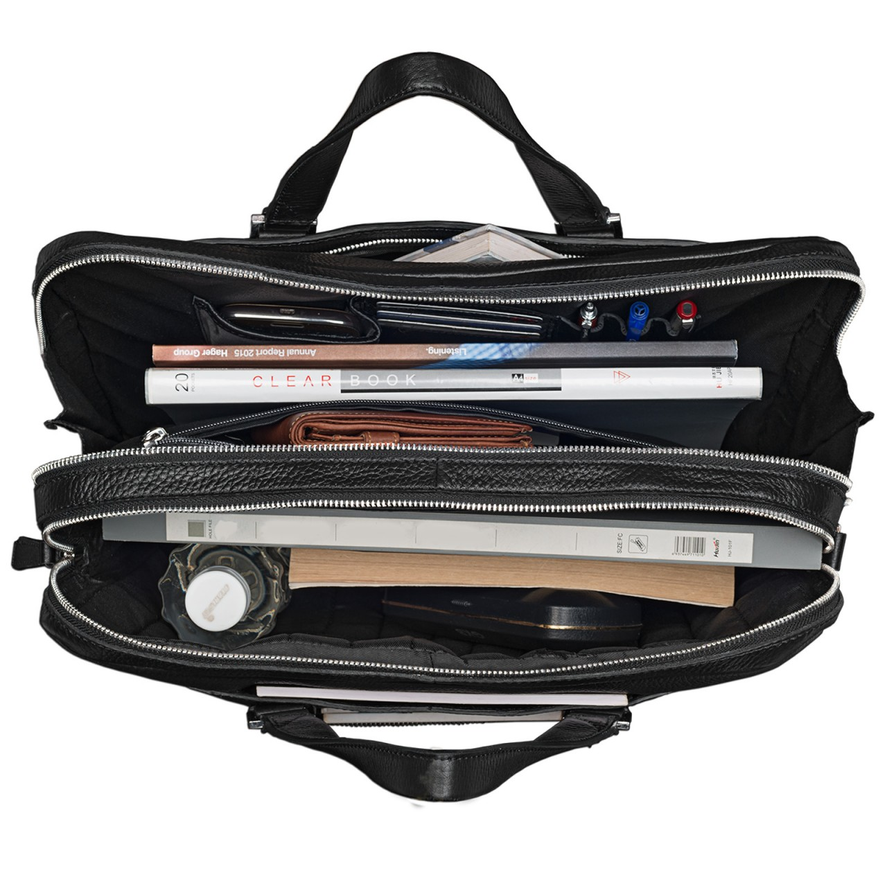 Schwarze Businesstasche groß Leder