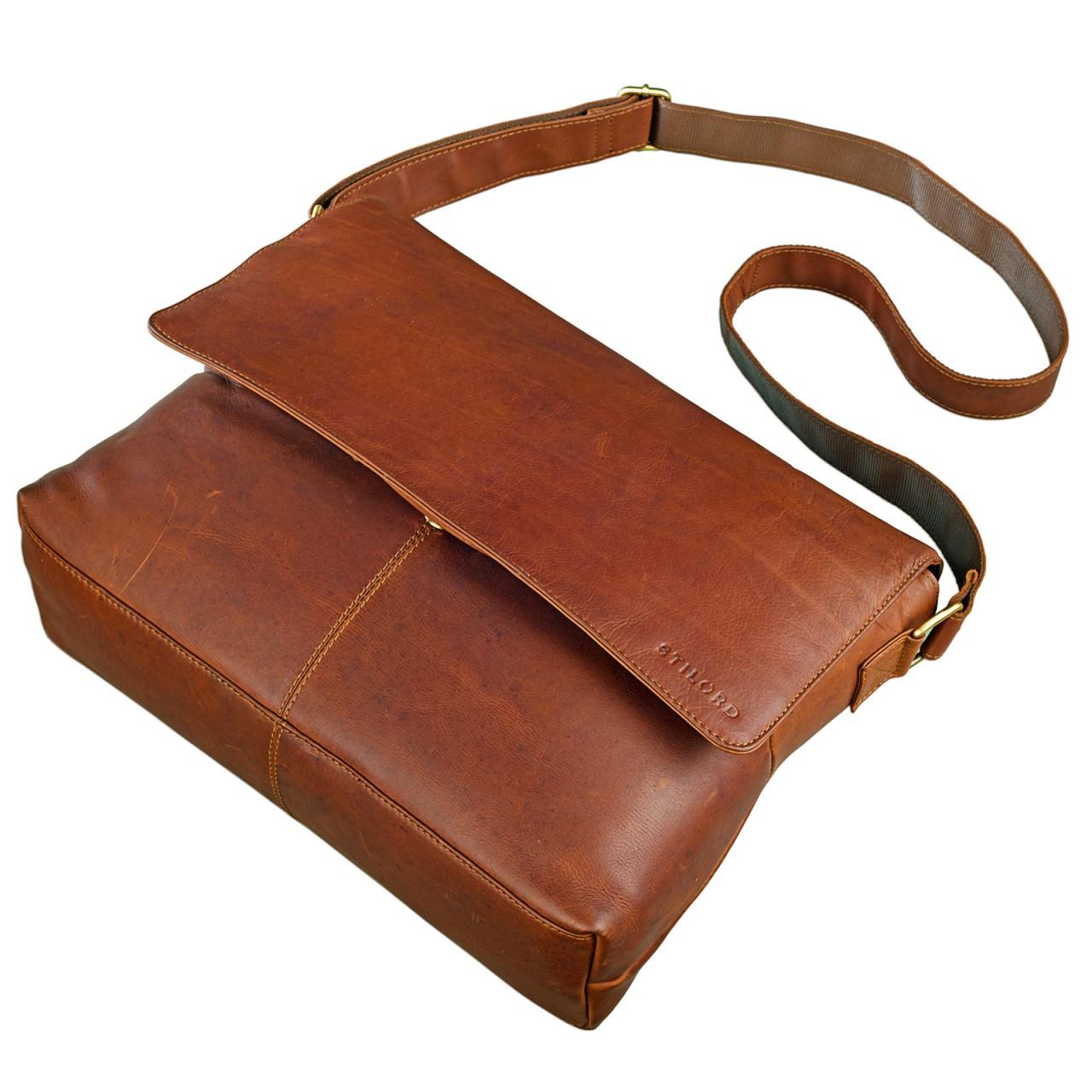 STILORD Messenger Bag Leder Herren Damen Arbeitstasche DIN A4 Dokumententasche Akten Büro Uni Freizeit für 15,6 Zoll Laptop Büffelleder Cognac - Bild 4