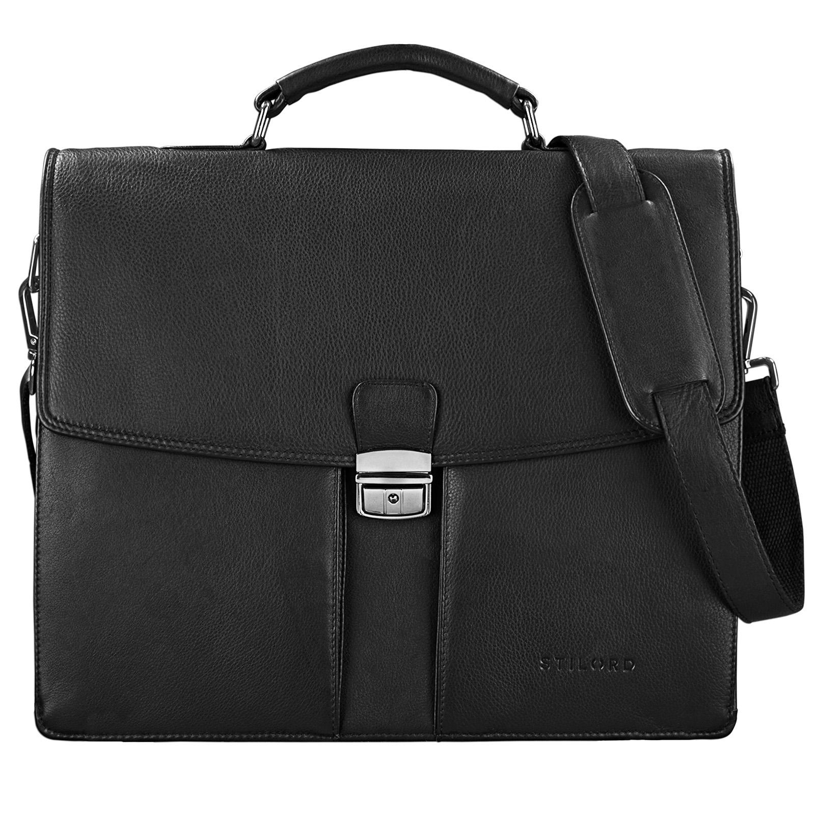 STILORD Aktentasche Leder Schwarz Businesstasche Dokumententasche Bürotasche klassisch elegant aufsteckbar echtes Rindsleder  - Bild 3