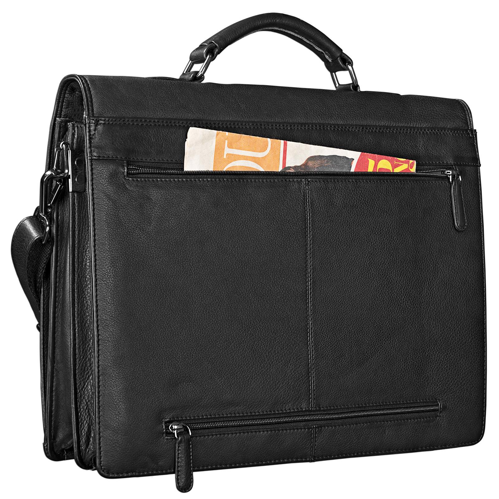 STILORD Aktentasche Leder Schwarz Businesstasche Dokumententasche Bürotasche klassisch elegant aufsteckbar echtes Rindsleder  - Bild 8