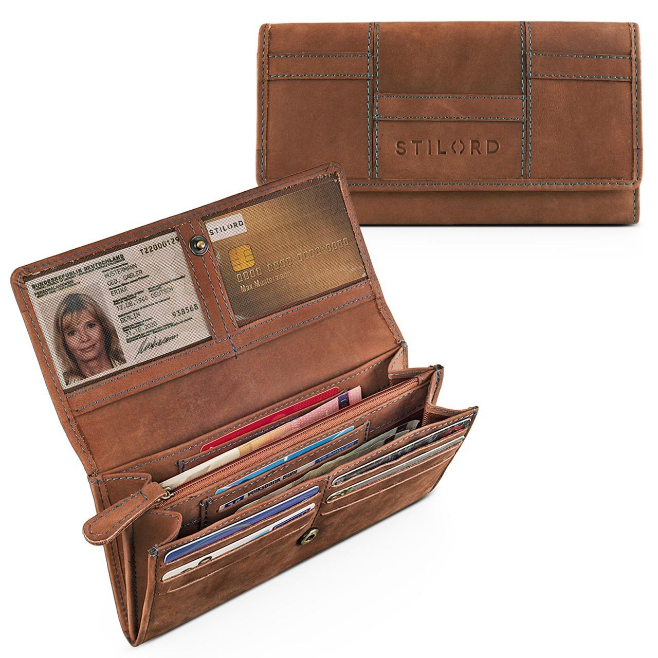 STILORD Vintage Portemonnaie aus Leder für Damen groß Geldbeutel Ledergeldbörse Reißverschluss Kartenfach Büffel-Leder braun - Bild 2