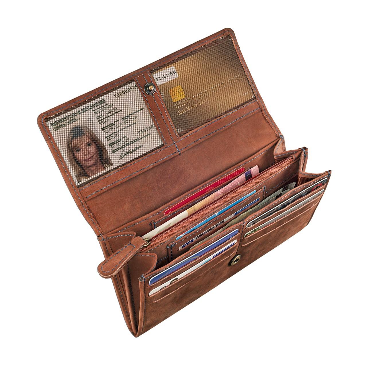 STILORD Vintage Portemonnaie aus Leder für Damen groß Geldbeutel Ledergeldbörse Reißverschluss Kartenfach Büffel-Leder braun - Bild 6