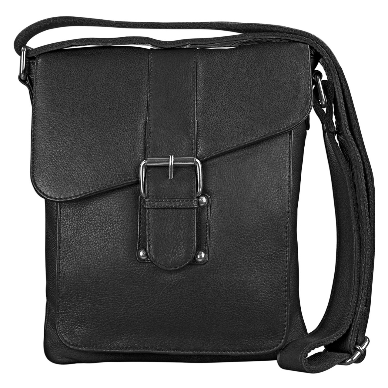 stilord herren umh ngetasche leder schwarz klein schultertasche messenger bag 10 1 zoll. Black Bedroom Furniture Sets. Home Design Ideas