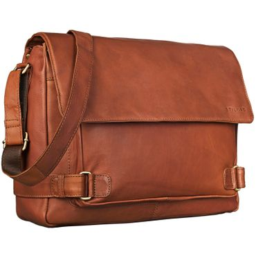 "STILORD ""Luca"" Vintage Messenger Bag 15,6 Zoll Laptop legere und elegante Aktentasche Umhängetasche Büro Business Unisex Echtleder Cognac Braun"