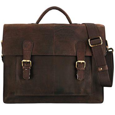 """STILORD """"Lorenz"""" Aktentasche Leder Herren Damen braun zeitlos klassische große Businesstasche Bürotasche 15,6 Zoll DIN A4 Echtleder mahagoni - braun"""