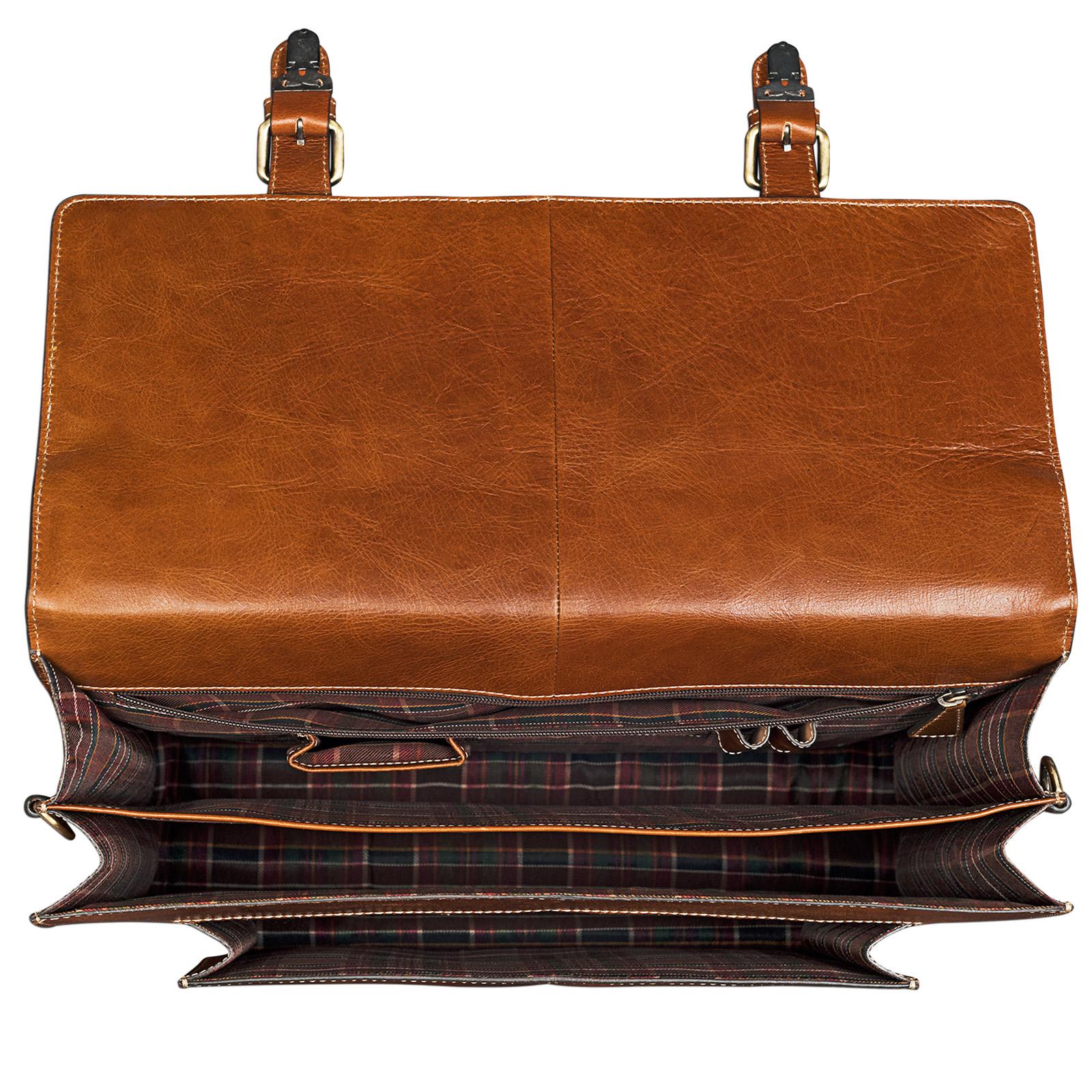 "STILORD ""Lorenz"" Vintage Aktentasche Leder groß Herren Damen Lehrer Business Bürotasche 15,6 Zoll DIN A4 echtes Leder cognac / braun - Bild 3"