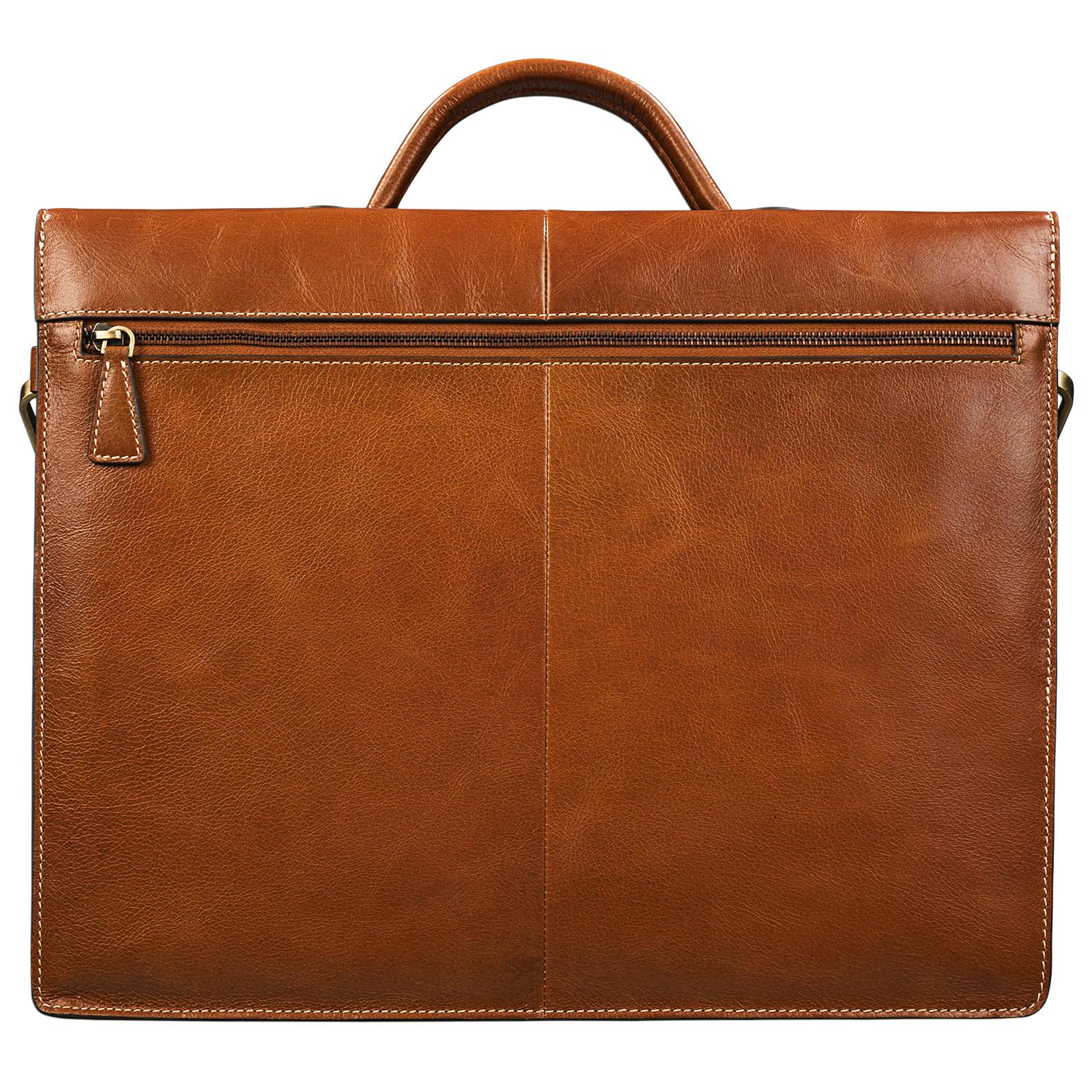 "STILORD ""Lorenz"" Vintage Aktentasche Leder groß Herren Damen Lehrer Business Bürotasche 15,6 Zoll DIN A4 echtes Leder cognac / braun - Bild 5"