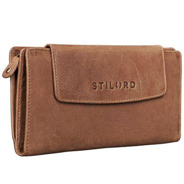 """STILORD """"Nele"""" Portemonnaie Damen Leder groß Vollleder Vintage Geldbörse Quer Lang mit Reißverschluss Ausweisfach für Kleingeld EC-Karten Horizontal ocker - braun"""