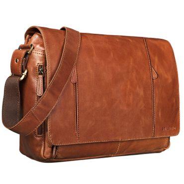 """STILORD """"Erik"""" Vintage Schultertasche Leder braun 15,6 Zoll Notebooktasche Umhängetasche Herren und Damen Unitasche Arbeit Büro Echtleder"""