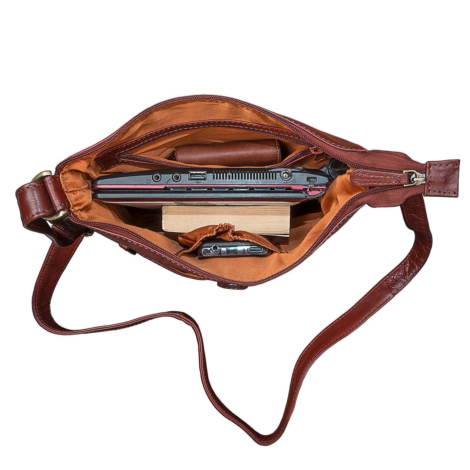 """STILORD """"Lina"""" Elegante Vintage Damen Umhängetasche Schultertasche klein Abendtasche klassische Handtasche 10.1 Zoll Tablettasche echtes Leder - Bild 4"""