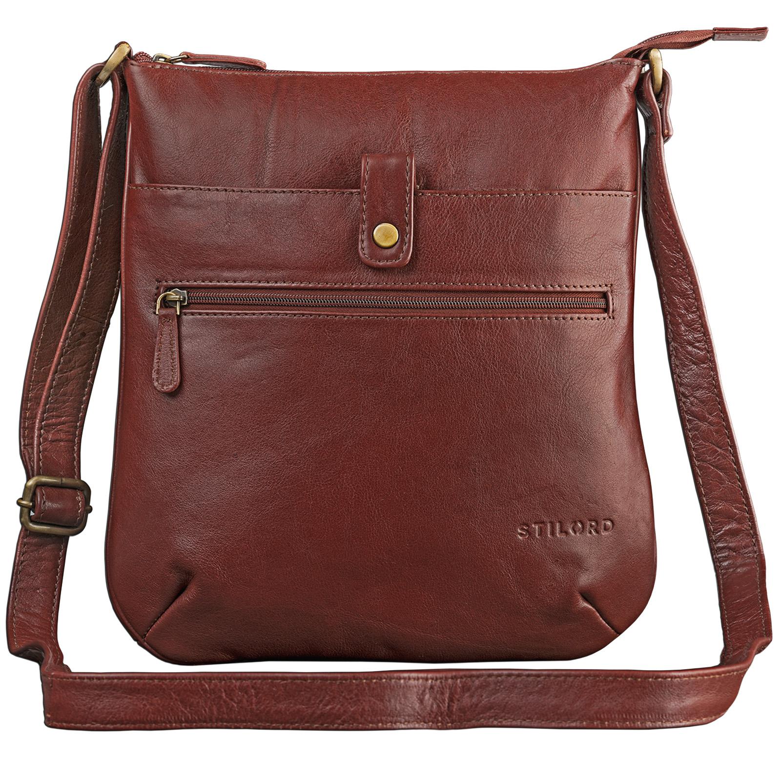"""STILORD """"Lina"""" Elegante Vintage Damen Umhängetasche Schultertasche klein Abendtasche klassische Handtasche 10.1 Zoll Tablettasche echtes Leder - Bild 1"""