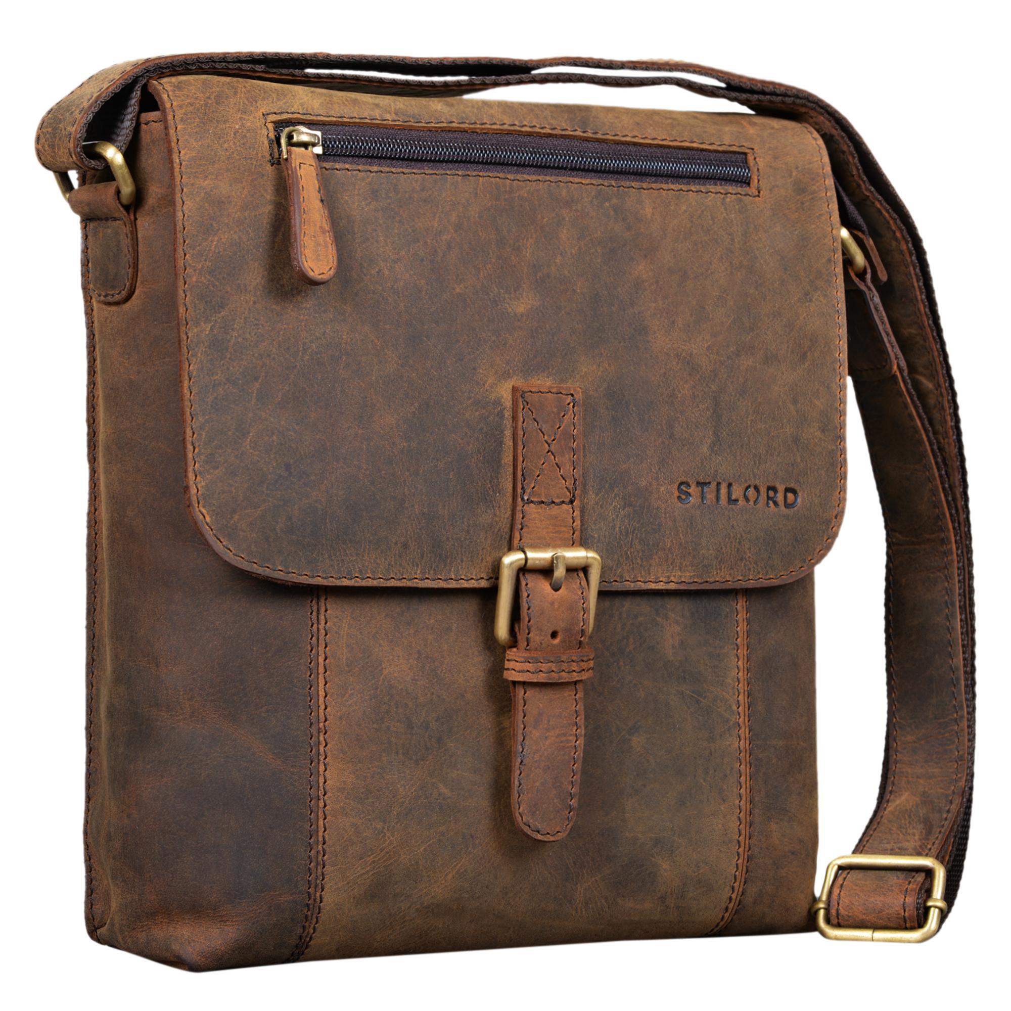 """STILORD """"Matthias"""" Herren Umhängetasche Leder Vintage Messenger Tasche 10.1 Zoll Tablettasche klein Schultertasche echtes Rinds-Leder - Bild 10"""