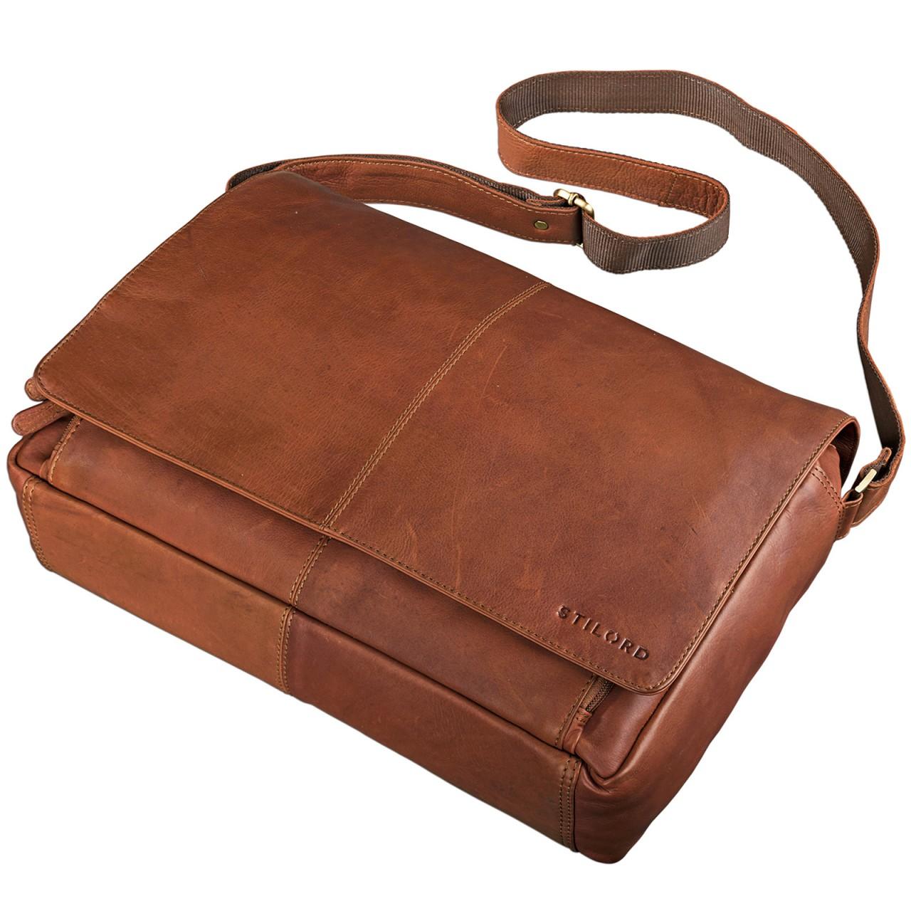 STILORD B-Ware Vintage Ledertasche Männer Frauen Businesstasche zum Umhängen 15,6 Zoll Laptoptasche Aktentasche Unitasche Umhängetasche Leder - Bild 5