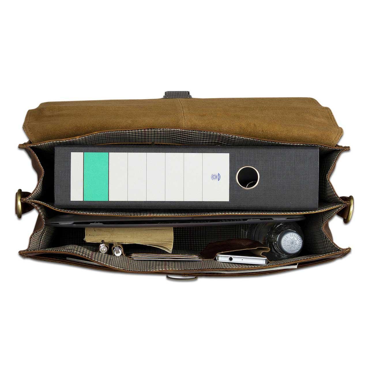B-WARE Vintage Aktentasche Herren Büro Business Schultertasche Laptoptasche mit Schloss groß echtes Rinds-Leder braun - Bild 4