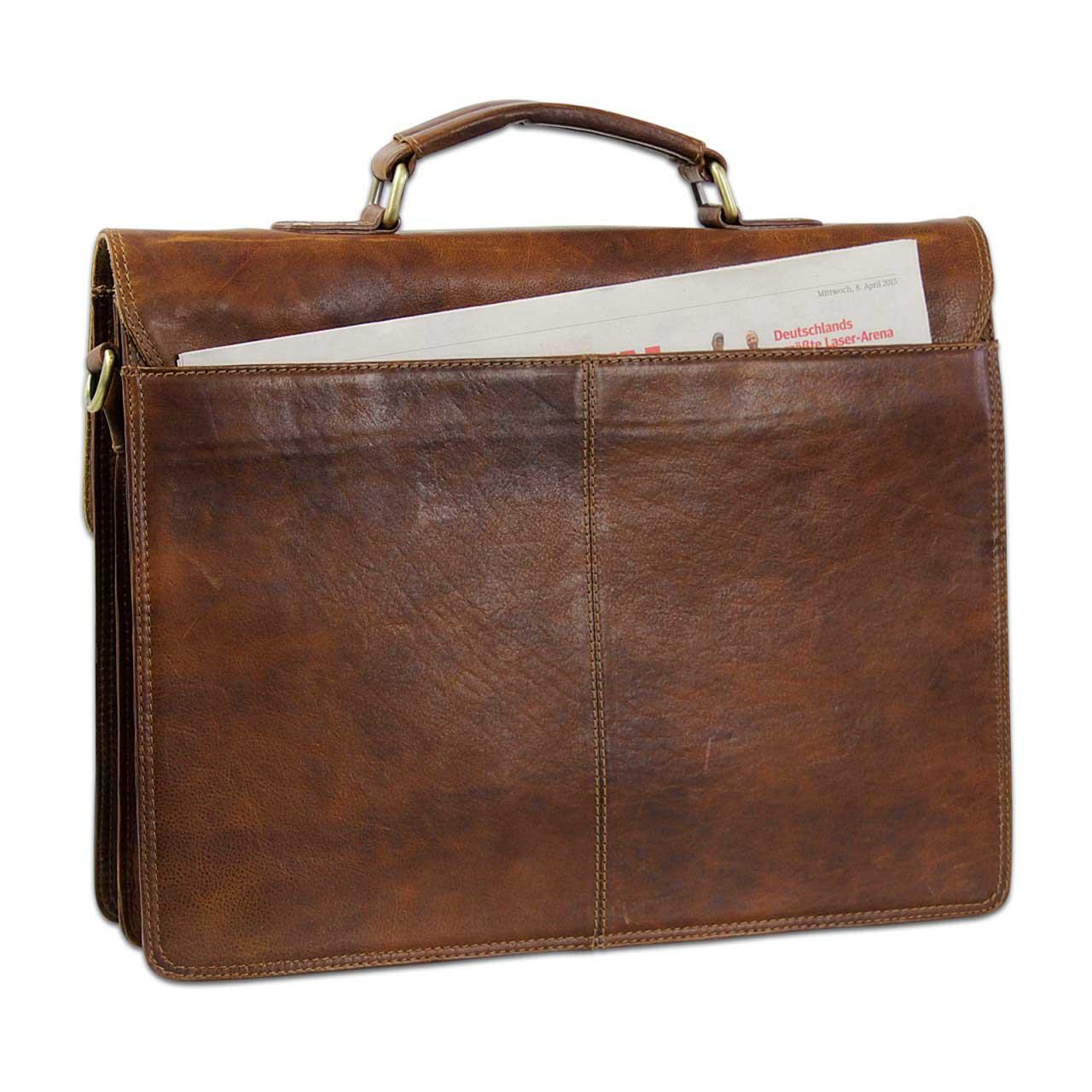 B-WARE Vintage Aktentasche Herren Büro Business Schultertasche Laptoptasche mit Schloss groß echtes Rinds-Leder braun - Bild 9