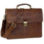 B-WARE Vintage Aktentasche Herren Büro Business Schultertasche Laptoptasche mit Schloss groß echtes Rinds-Leder braun