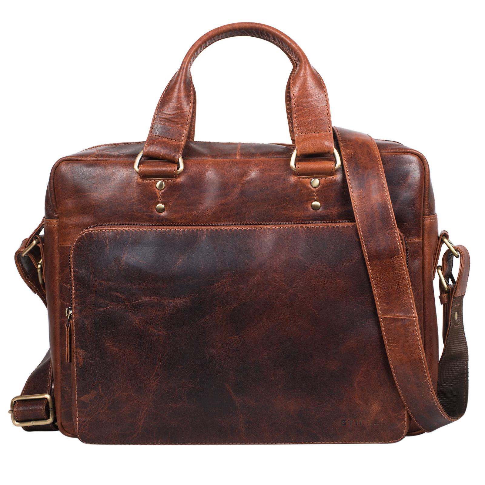"""STILORD """"Joshua"""" Vintage Businesstasche Leder groß Herren Laptoptasche 13.3 Zoll Bürotasche Aktentasche Dokumententasche Umhängetasche echtes Rinds-Leder - Bild 3"""