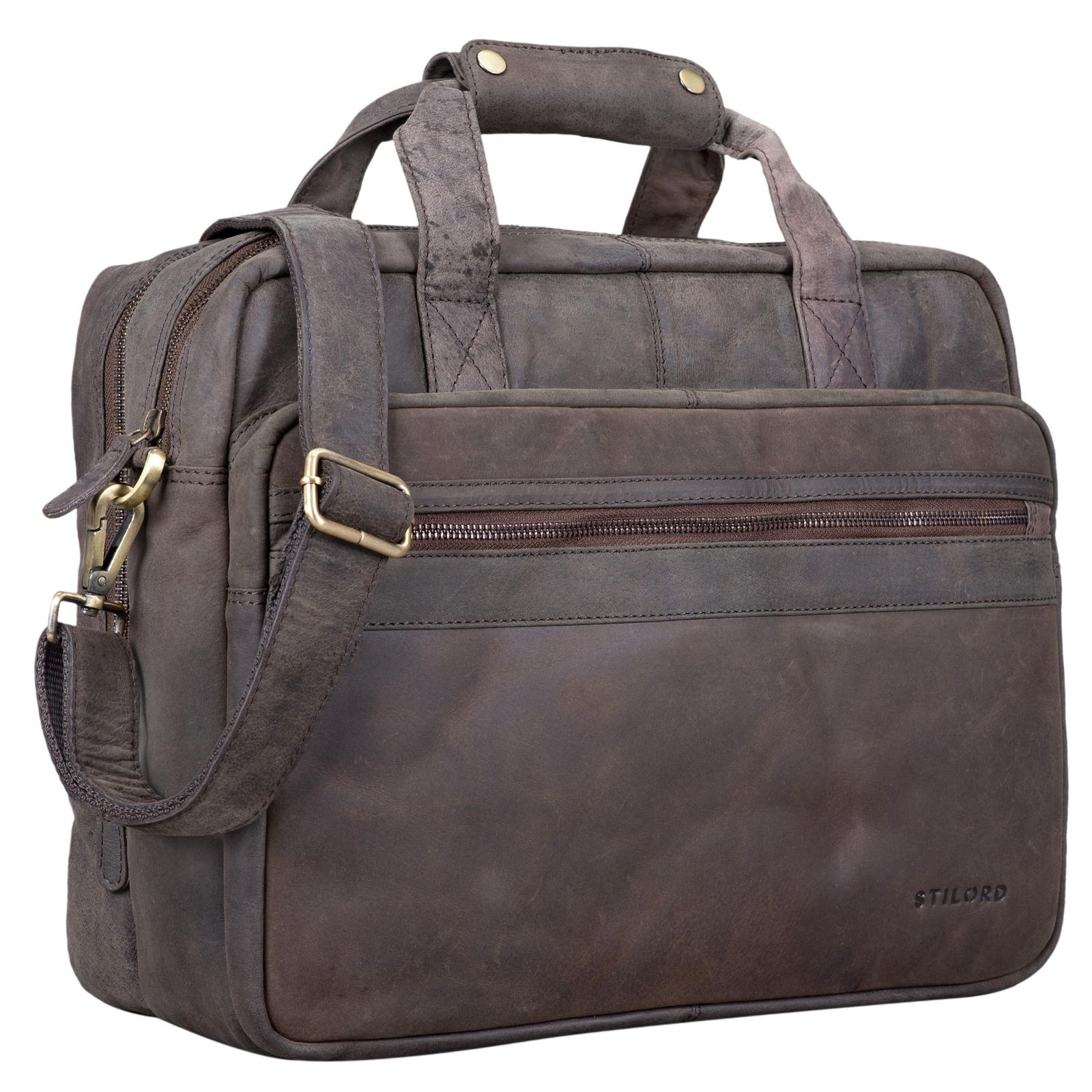 "STILORD ""Adventure"" Lehrertasche Herren Damen Aktentasche Office Büro Schulter- oder Umhängetasche Businesstasche für Laptop Leder  - Bild 14"