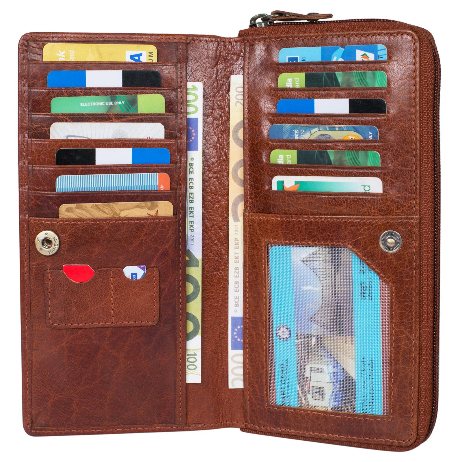 """STILORD """"Dana"""" Damen Geldbörse lang Leder Vintage Portemonnaie im Querformat große Brieftasche mit Reißverschluss für Kleingeld EC-Karten echtes Rindsleder - Bild 5"""