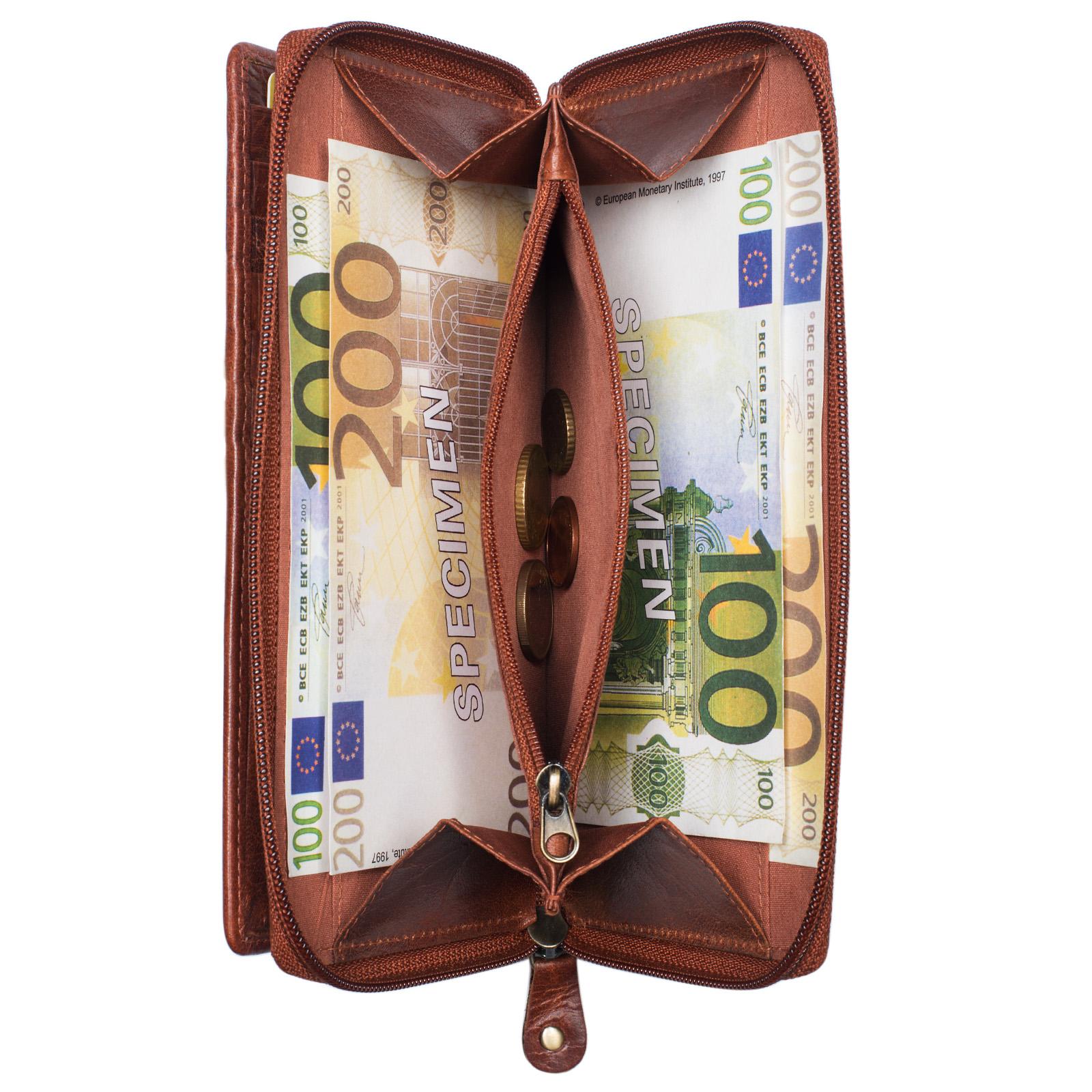 """STILORD """"Dana"""" Damen Geldbörse lang Leder Vintage Portemonnaie im Querformat große Brieftasche mit Reißverschluss für Kleingeld EC-Karten echtes Rindsleder - Bild 4"""