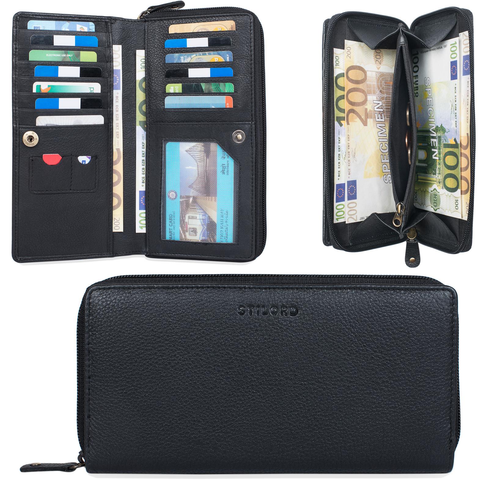 """STILORD """"Dana"""" Damen Geldbörse lang Leder Vintage Portemonnaie im Querformat große Brieftasche mit Reißverschluss für Kleingeld EC-Karten echtes Rindsleder - Bild 9"""