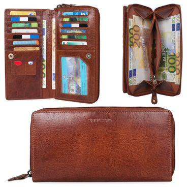 """STILORD """"Dana"""" Damen Geldbörse lang Leder Vintage Portemonnaie im Querformat große Brieftasche mit Reißverschluss für Kleingeld EC-Karten echtes Rindsleder – Bild 2"""