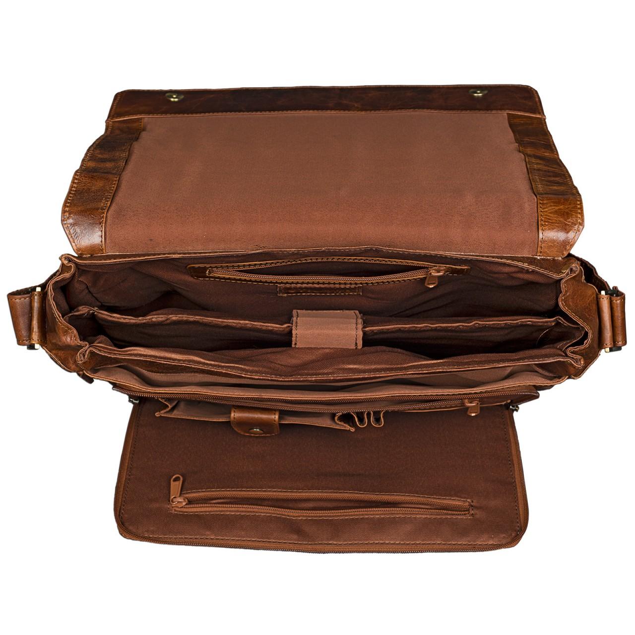 B-WARE STILORD 15,6 Zoll Laptoptasche Leder Umhängetasche Unitasche Aktentasche Freizeit Bürotasche Vintage Antik-Leder braun - Bild 5