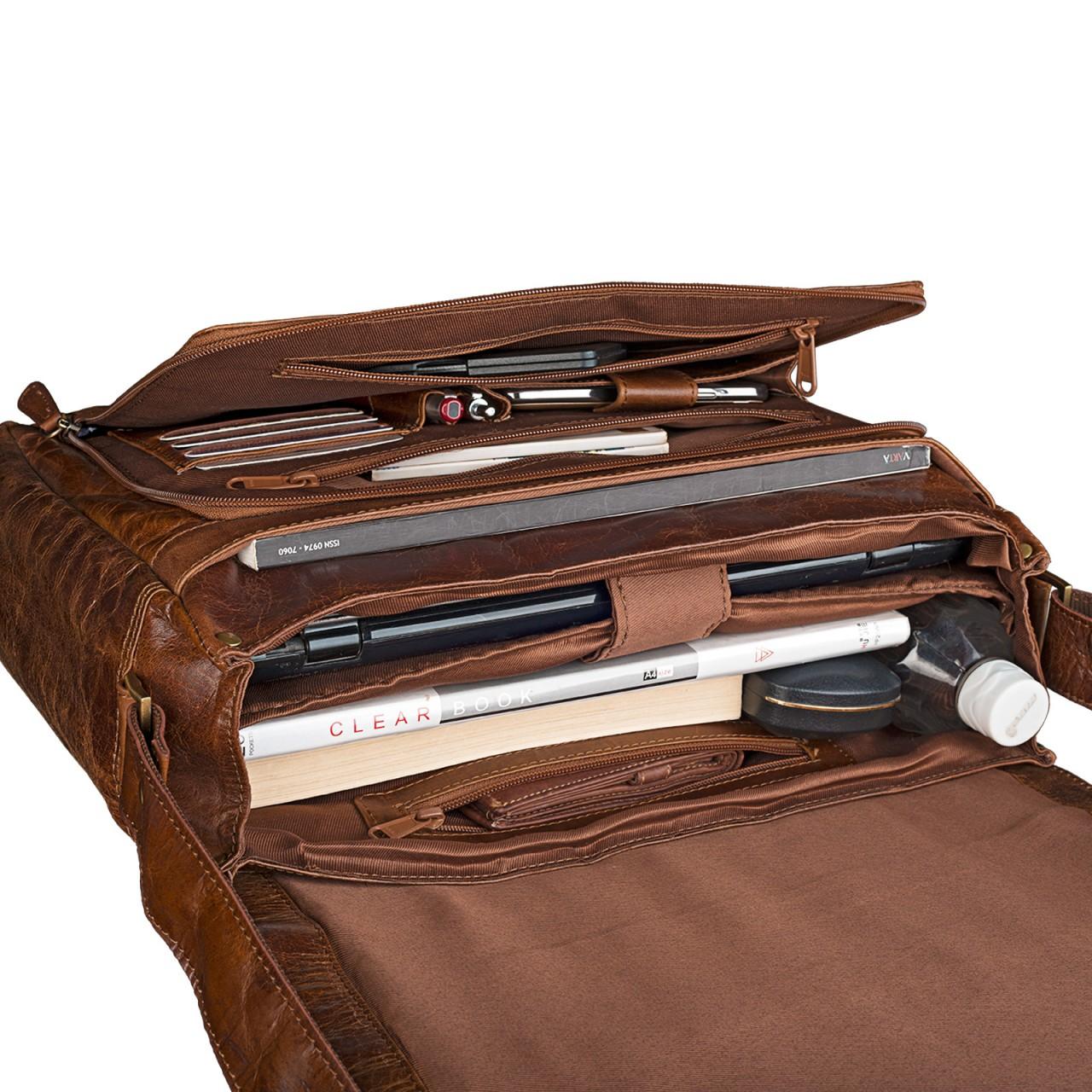 B-WARE STILORD 15,6 Zoll Laptoptasche Leder Umhängetasche Unitasche Aktentasche Freizeit Bürotasche Vintage Antik-Leder braun - Bild 7