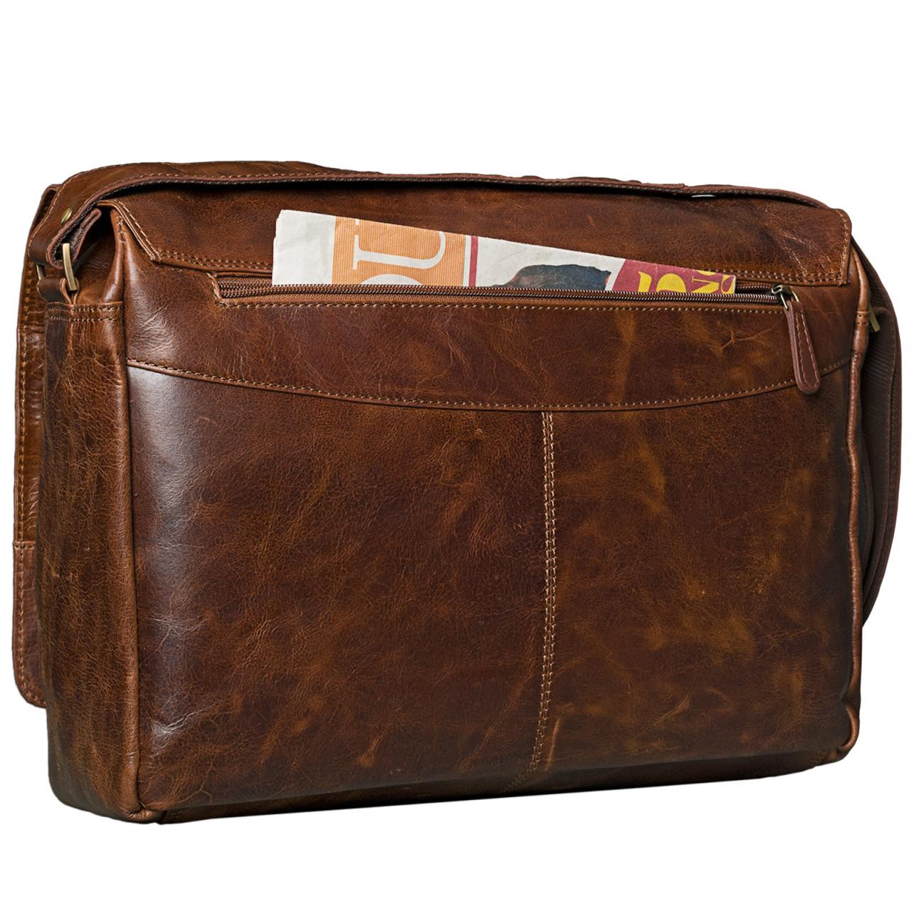 B-WARE STILORD 15,6 Zoll Laptoptasche Leder Umhängetasche Unitasche Aktentasche Freizeit Bürotasche Vintage Antik-Leder braun - Bild 6