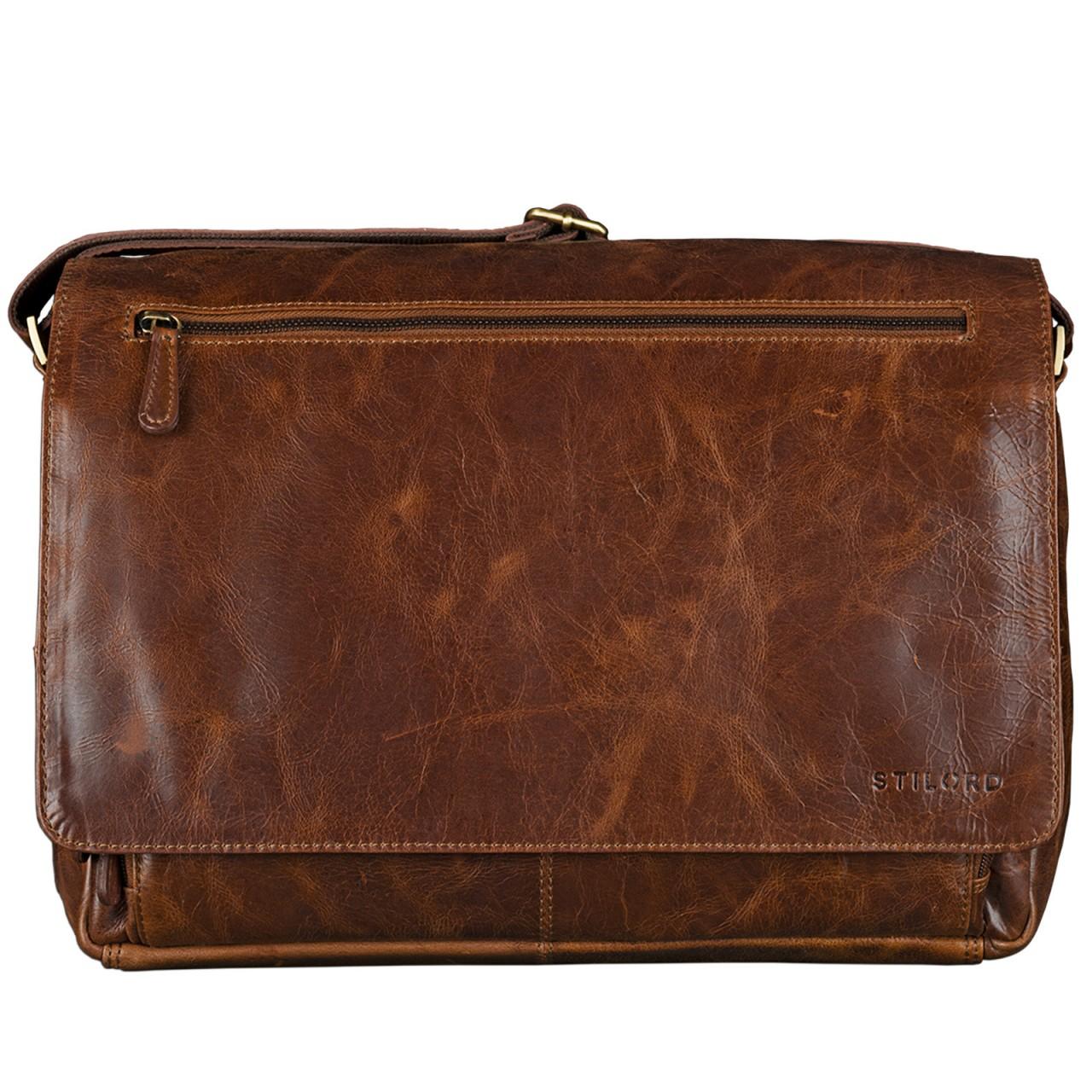 B-WARE STILORD 15,6 Zoll Laptoptasche Leder Umhängetasche Unitasche Aktentasche Freizeit Bürotasche Vintage Antik-Leder braun - Bild 3