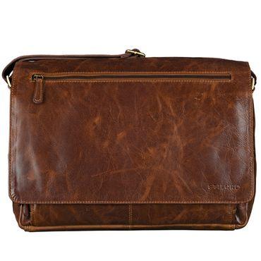 B-WARE STILORD 15,6 Zoll Laptoptasche Leder Umhängetasche Unitasche Aktentasche Freizeit Bürotasche Vintage Antik-Leder braun – Bild 3