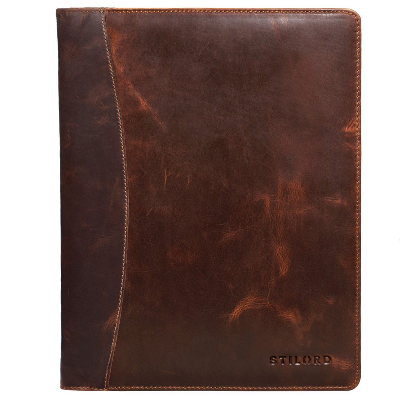 STILORD Vintage Konferenzmappe DIN A4 Ringbuch Schreibmappe Leder dunkelbraun