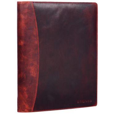 """STILORD """"Vincent"""" Konferenzmappe Leder A4 braun Dokumentenmappe mit Ringmechanik 13,3 Zoll Schreibmappe Aktenmappe Ringbuch umlaufender Reißverschluss Farbe: kara - rot"""