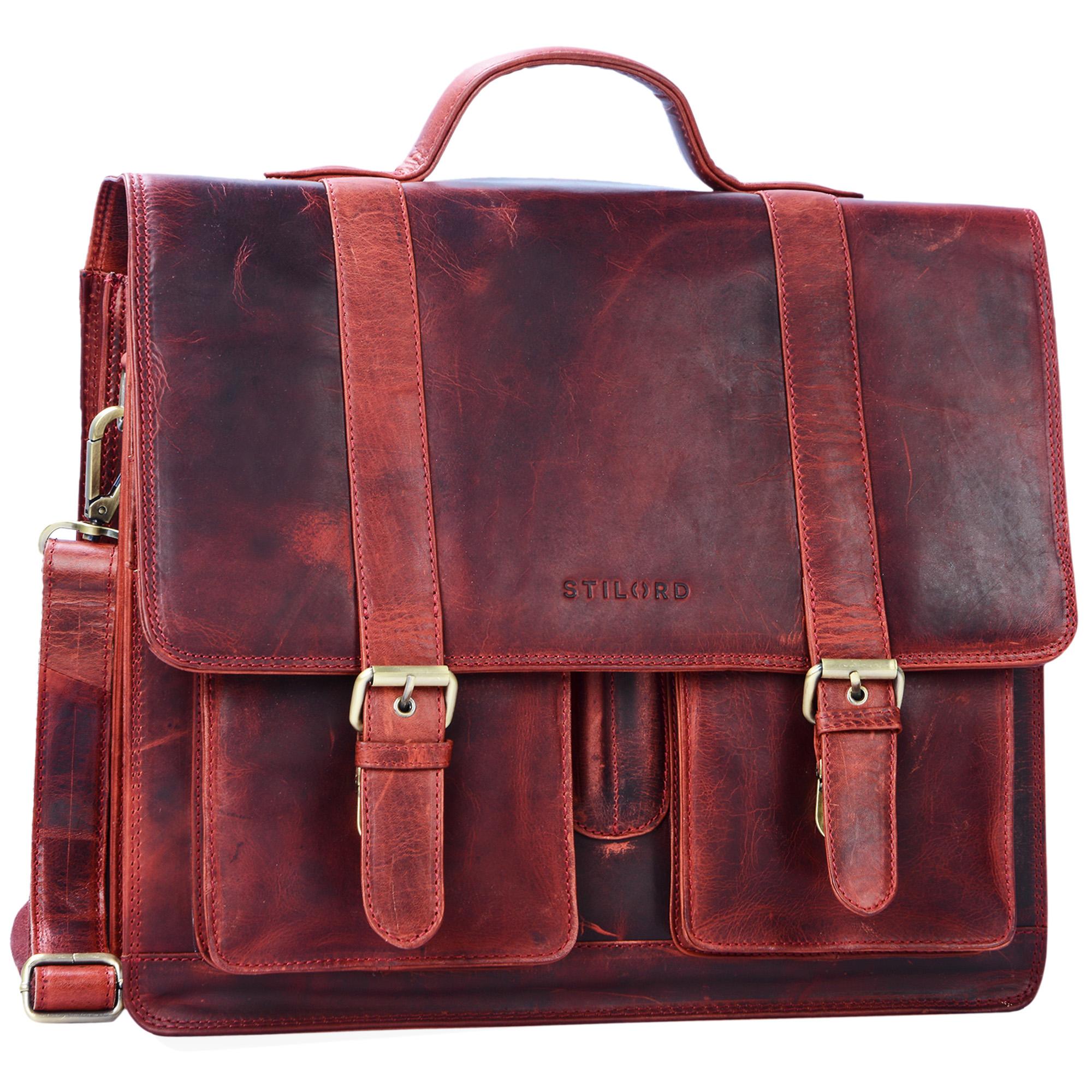 """STILORD """"Marius"""" Klassische Lehrertasche Leder Schultasche XL groß Aktentasche zum Umhängen Businesstasche Laptoptasche echtes Rindsleder  - Bild 25"""