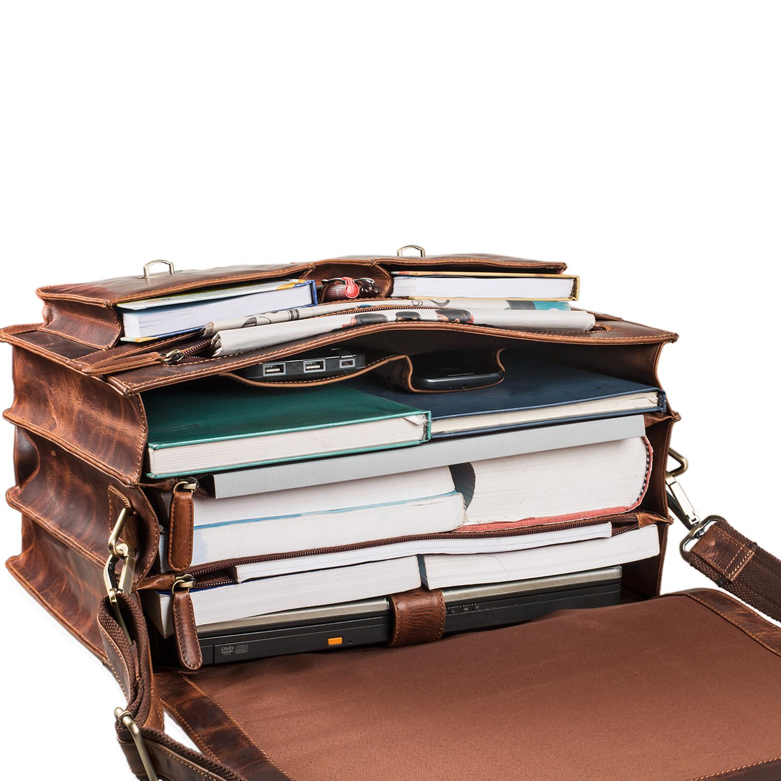 """STILORD """"Marius"""" Klassische Lehrertasche Leder Schultasche XL groß Aktentasche zum Umhängen Businesstasche Laptoptasche echtes Rindsleder  - Bild 14"""