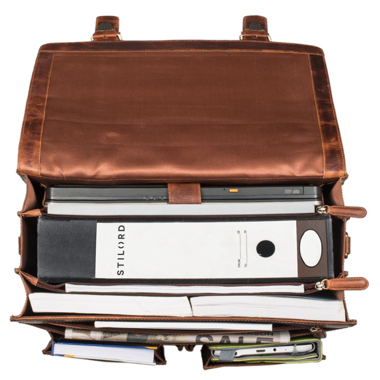 """STILORD """"Marius"""" Klassische Lehrertasche Leder Schultasche XL groß Aktentasche zum Umhängen Businesstasche Laptoptasche echtes Rindsleder  - Bild 11"""