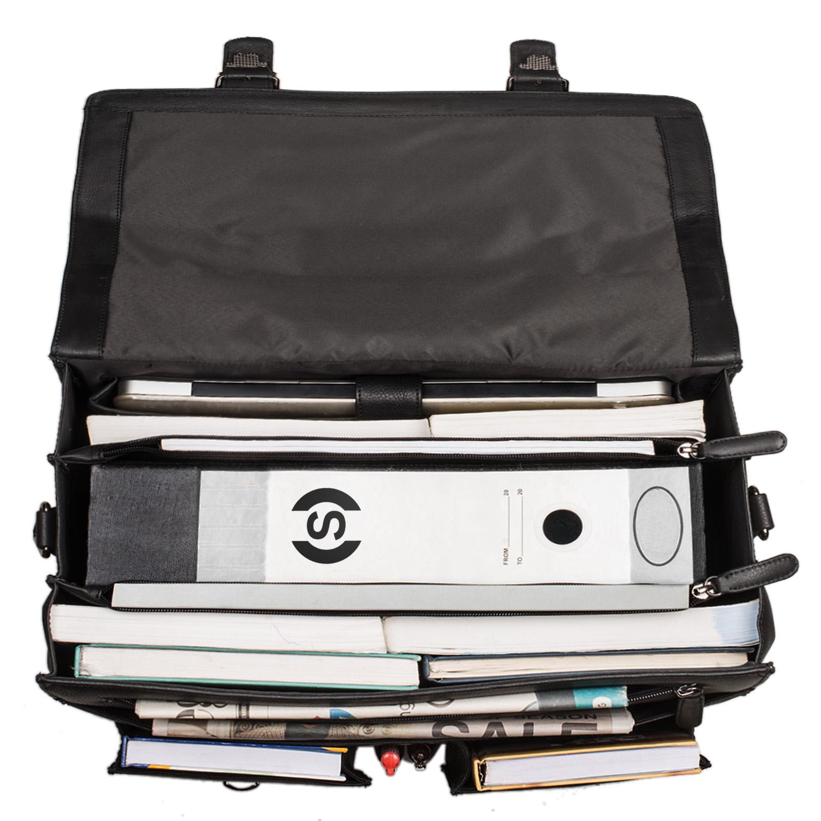 """STILORD """"Marius"""" Klassische Lehrertasche Leder Schultasche XL groß Aktentasche zum Umhängen Businesstasche Laptoptasche echtes Rindsleder  - Bild 18"""