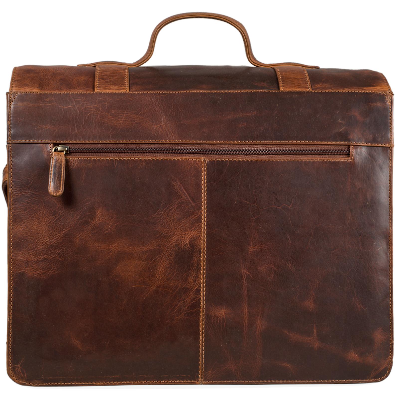 """STILORD """"Marius"""" Klassische Lehrertasche Leder Schultasche XL groß Aktentasche zum Umhängen Businesstasche Laptoptasche echtes Rindsleder  - Bild 12"""