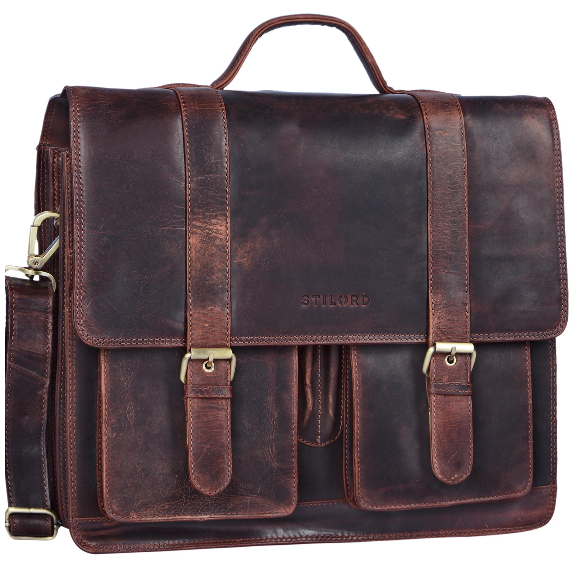 """STILORD """"Marius"""" Klassische Lehrertasche Leder Schultasche XL groß Aktentasche zum Umhängen Businesstasche Laptoptasche echtes Rindsleder  - Bild 22"""